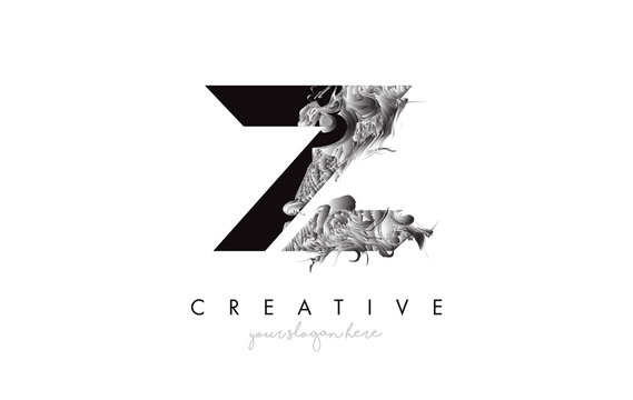 Letter Z Logo Design Icon with Artistic Grunge Texture In Black and White