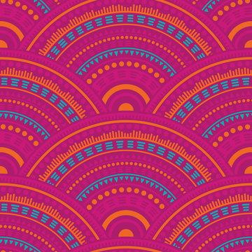 Ethnic circle shapes seamless geometric pattern.