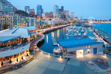 Waterfront overview at downtown Seattle, Washington, United States