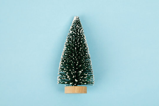Small christmas tree on blue background