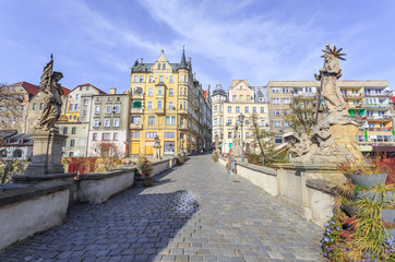 Klodzko in Lower Silesia - historic bridge of St. John also called bridge of Veit Stoss, gothic from late fourteenth century, connecting Sand Island with market of old city