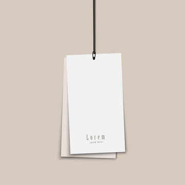 Two blank paper price tags mock up with string isolated on transparent background.