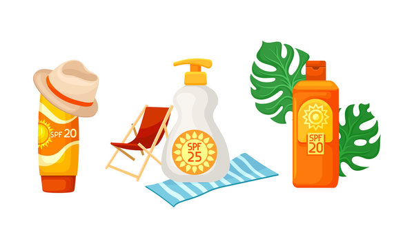 Sunscreen Cosmetics And Things For A Beach Holiday Vector Illustration Set Isolated On White Background