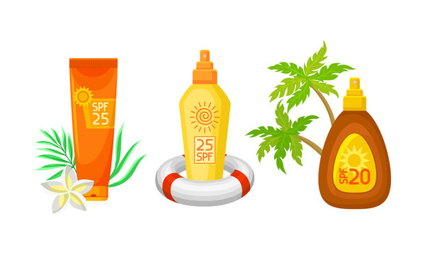 Sunscreen Lotion, Oil And Cream With Different Beach Elements Vector Illustration Set Isolated On White Background