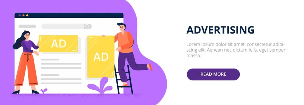Web advertising concept. Web developers set display advertisements and banners to a site. Flat vector illustration. Good for banners, ads, landing pages or articles.