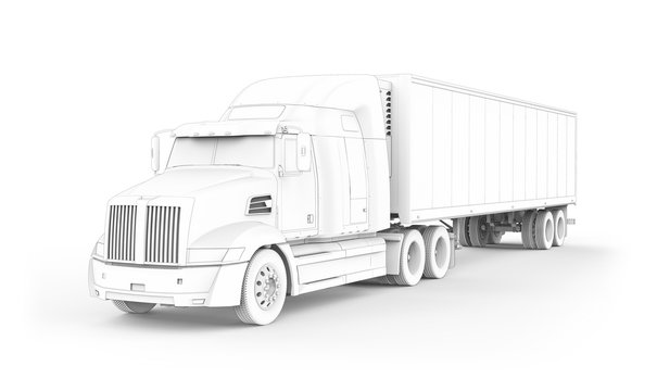 Generic American cartoon sleeper semi truck with refrigerated semi trailer from the front left view, photo realistic drawing, isolated 3D illustration on the white background.