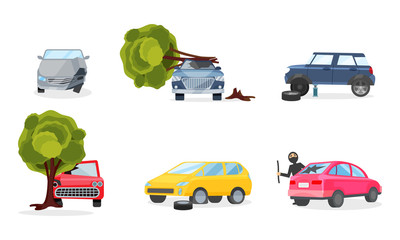 Car Accidents And Insurance Cases On The Road Vector Illustration Set Isolated On White Background