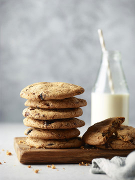 Homemade chocolate chip cookies with milk