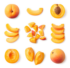 Set of fresh whole and sliced apricot