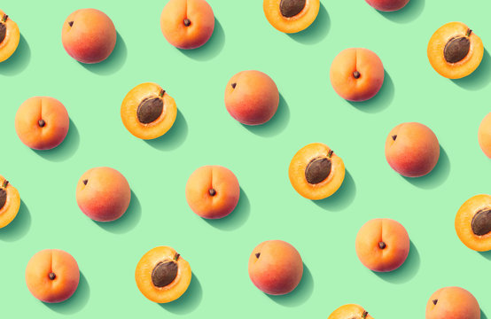 Colorful fruit pattern of fresh apricots