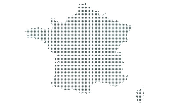 France map vector, isolated background. Flat Earth, gray map template for web site pattern, anual report, inphographics. Map icon. Travel worldwide, map silhouette backdrop