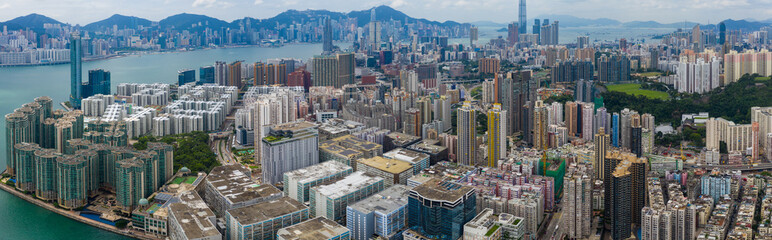 Fototapete -  Top view of Hong Kong city