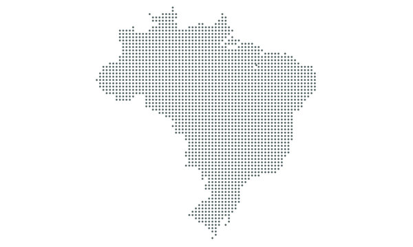 Map of brazil vector, dotted isolated on white background. Flat Earth, gray map template for web site pattern, anual report, inphographics.