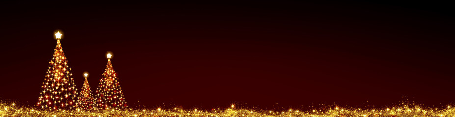 Three Christmas trees isolated on red sky background.