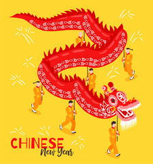 Chinese New Year Isometric Poster