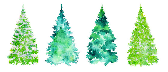 set of green fur-trees, christmas collection of elements for design.