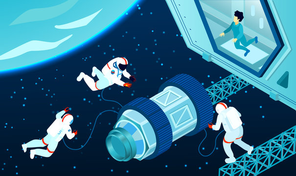 Isometric Spaceman Illustration