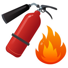 Color image of fire extinguisher on a white background. Fire, flame, extinguisher. Vector illustration set.