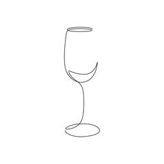 Fototapeta Continuous one line wine glass art. Vector obraz
