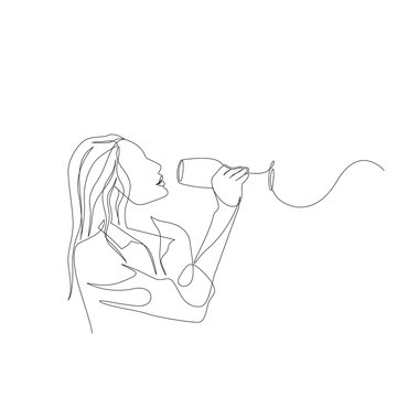 Continuous one line woman tastes wine. Degustation, tasting. Vector