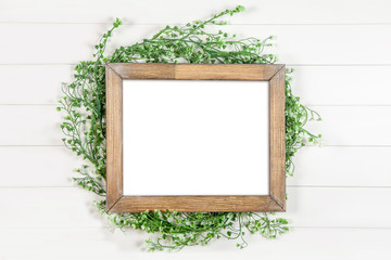 8x10 16x20 horizontal wooden frame mockup on white background