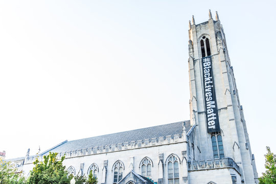 Washington DC, USA - August 4, 2017: Church of the Pilgrims building exterior with sign for Black Lives Matter