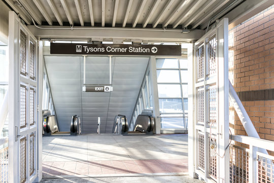 Tysons, USA - January 26, 2018: Tyson's Corner Mall Subway Metro Station in Fairfax, Virginia by Mclean, sign, nobody, directions