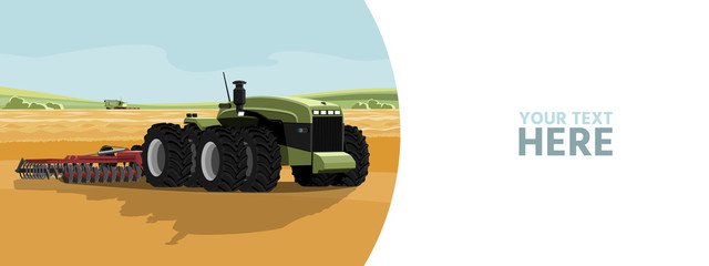 Etiqueta Engomada - Autonomous tractor on a smart farm. Vector banner template