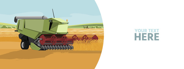 Wall Mural - Autonomous harvester on a smart farm. Vector banner template