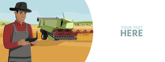 Wall Mural - Farmer controls an autonomous harvester on a smart farm. Vector banner template