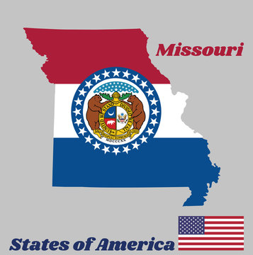 Map outline and flag of Missouri. red white and blue color. The Missouri Seal, surrounded by a blue band and stars, the states of America.