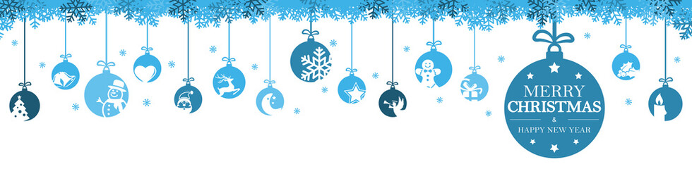 Wall Mural - hanging baubles with christmas icons and greetings