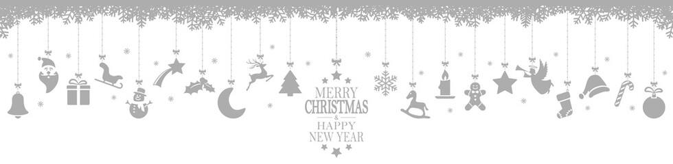 Wall Mural - hanging christmas icons and new year greetings