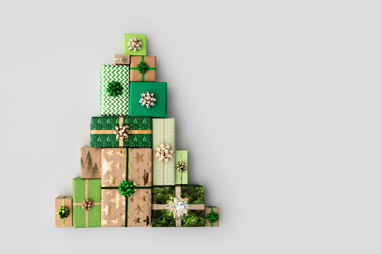 Christmas tree made from Christmas gifts