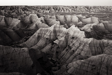 Poster Grijs Toned Black and White Photograph of the landscape of the Badlands in South Dakota