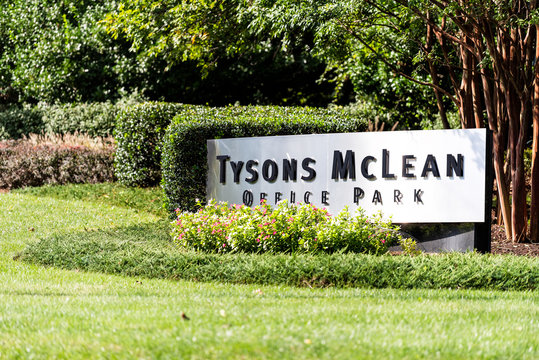 Tysons, USA - October 12, 2018: Sign exterior of Tyson's Mclean office park corporations complex in Fairfax county, Virginia