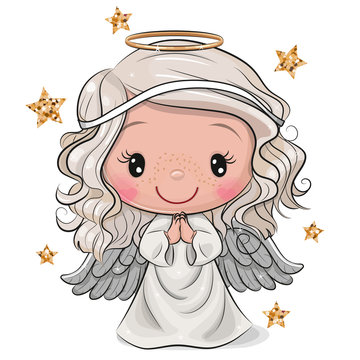Cartoon Christmas angel isolated on white background