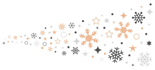 Wall Mural - Christmas card with snowflake border vector. Xmas snow flake pattern. Festive christmas card. Isolated illustration white background.