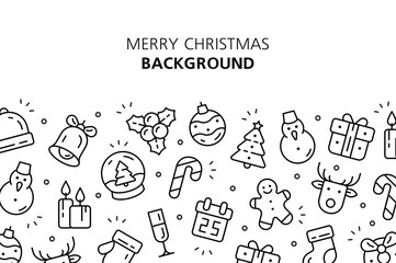 Christmas icons background. Isolated on White background