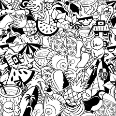 Fotobehang Draw Tropical Doodles Summer Party Vector Seamless Repeat Pattern