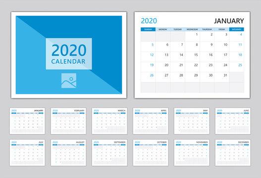 Calendar 2020, Set Desk calendar 2020 template, Can use Place for Photo and Company Logo Blue cover modern design, Set of 12 Months, vector illustration