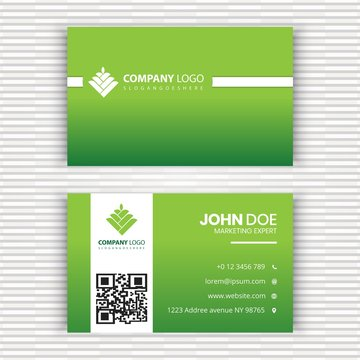 Stylish Green Business card template with logo.