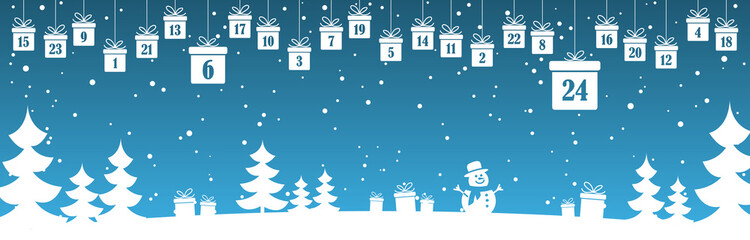 Fototapeten Blau Jeans advent calendar 1 to 24 on christmas presents