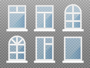 Set of isolated windows. Front store window frame with blue glasses. Exterior building facade element on transparent background. Vector illustration.