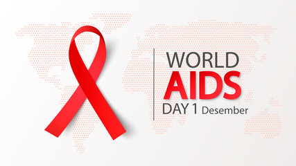 World AIDS Day 1 December. Vector illustration With aids awareness ribbon on world map background
