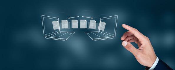 Fototapeta man hand transfer file in screen
