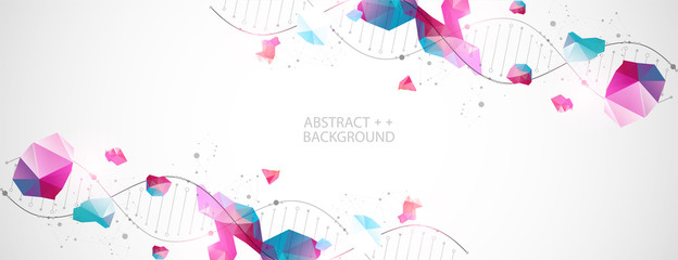 DNA molecules science template, abstract background. Vector illustration.