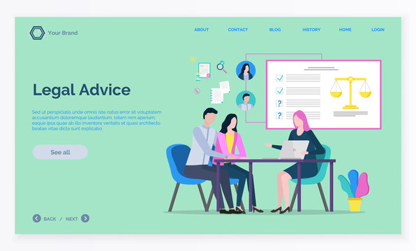 Lawyer working with laptop, advisor and clients discussing, legal advice. Consultation online, legislation service, woman attorney, court vector. App slider template, landing page, link flat style