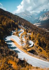 Wall Mural - Amazing view of alpine valley. Location place Maloja pass Swiss Alps, Europe.