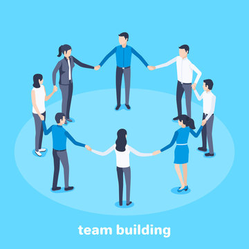 isometric vector image on a blue background, men and women stand in a circle holding hands, team building and teamwork